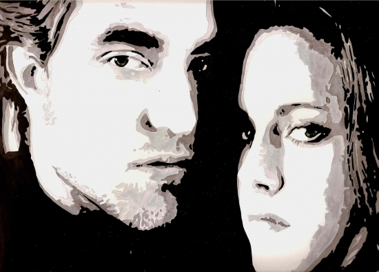Kristen Stewart, Robert Pattinson by amandouPaint